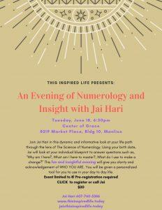 AN EVENING OF NUMEROLOGY & INSIGHT WITH JAI HARI @ Center of Grace